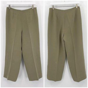 Vintage 90s Loft Tan Silk Flat Front Dress Pants